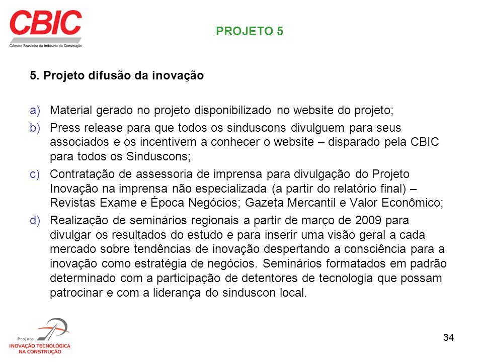 34 5. Projeto difusão da inovação a)Material gerado no projeto disponibilizado no website do projeto; b)Press release para que todos os sinduscons div