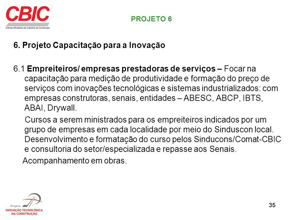 35 6. Projeto Capacitação para a Inovação 6.1 Empreiteiros/ empresas prestadoras de serviços – Focar na capacitação para medição de produtividade e fo