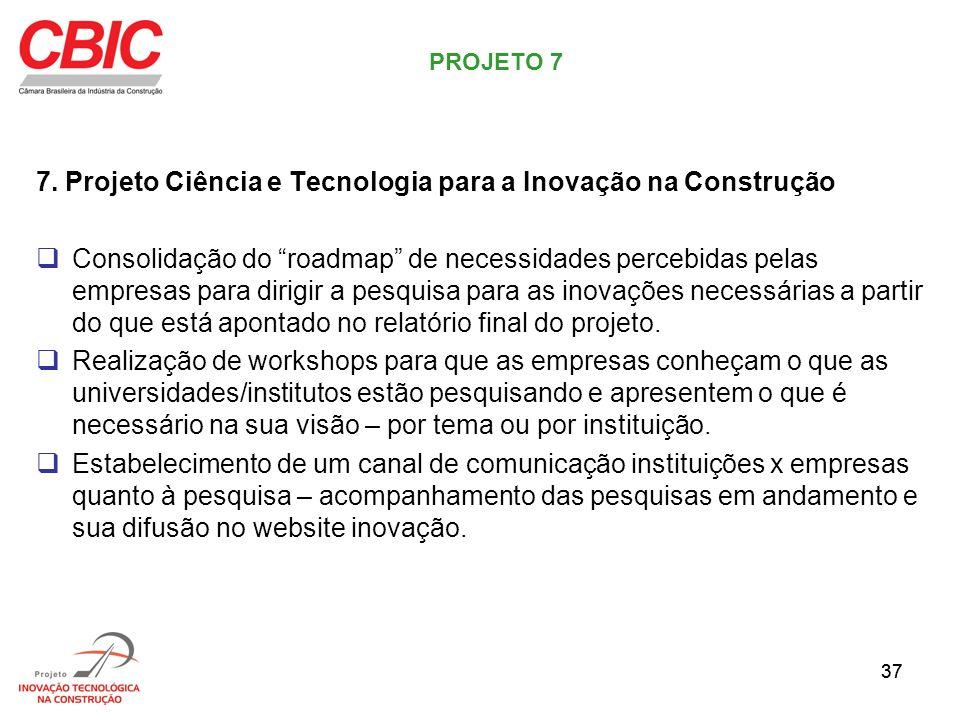 37 7. Projeto Ciência e Tecnologia para a Inovação na Construção Consolidação do roadmap de necessidades percebidas pelas empresas para dirigir a pesq