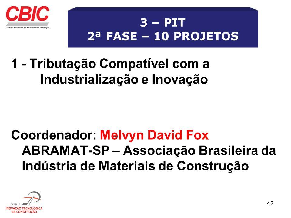 42 1 - Tributação Compatível com a Industrialização e Inovação Coordenador: Melvyn David Fox ABRAMAT-SP – Associação Brasileira da Indústria de Materi