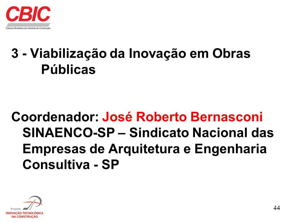 44 3 - Viabilização da Inovação em Obras Públicas Coordenador: José Roberto Bernasconi SINAENCO-SP – Sindicato Nacional das Empresas de Arquitetura e