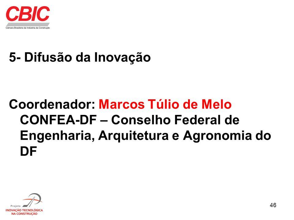 46 5- Difusão da Inovação Coordenador: Marcos Túlio de Melo CONFEA-DF – Conselho Federal de Engenharia, Arquitetura e Agronomia do DF