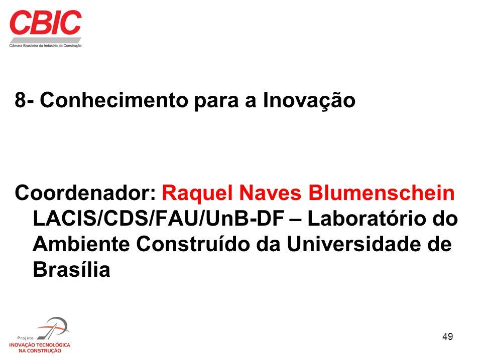49 8- Conhecimento para a Inovação Coordenador: Raquel Naves Blumenschein LACIS/CDS/FAU/UnB-DF – Laboratório do Ambiente Construído da Universidade de
