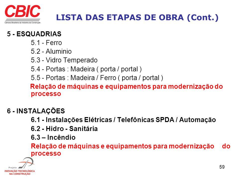 59 LISTA DAS ETAPAS DE OBRA (Cont.) 5 - ESQUADRIAS 5.1 - Ferro 5.2 - Aluminio 5.3 - Vidro Temperado 5.4 - Portas : Madeira ( porta / portal ) 5.5 - Po