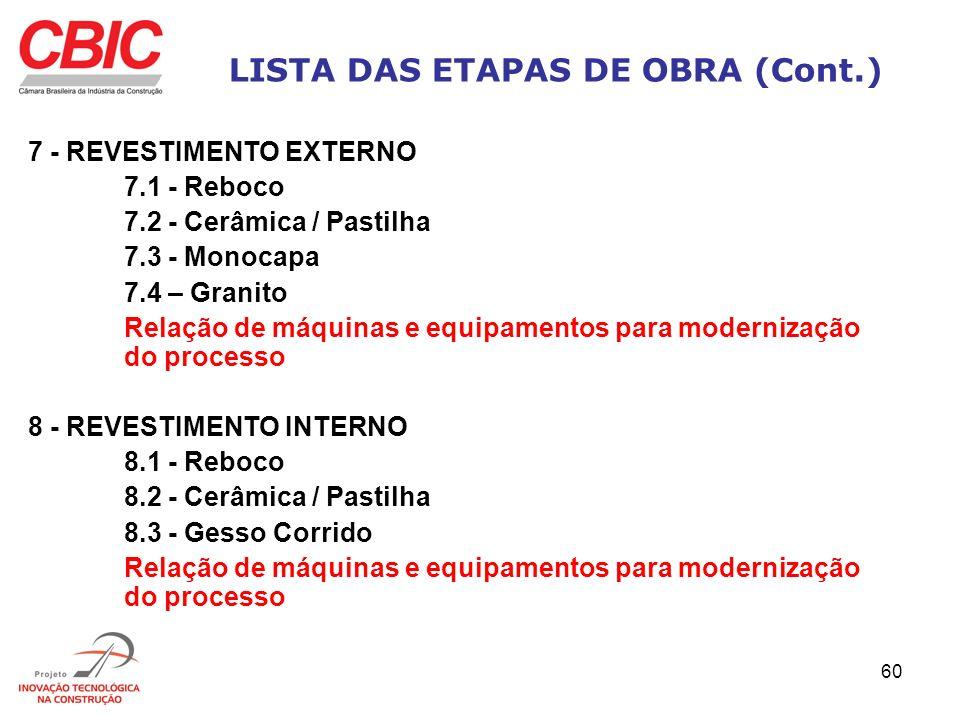 60 LISTA DAS ETAPAS DE OBRA (Cont.) 7 - REVESTIMENTO EXTERNO 7.1 - Reboco 7.2 - Cerâmica / Pastilha 7.3 - Monocapa 7.4 – Granito Relação de máquinas e