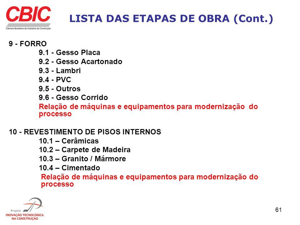 61 LISTA DAS ETAPAS DE OBRA (Cont.) 9 - FORRO 9.1 - Gesso Placa 9.2 - Gesso Acartonado 9.3 - Lambri 9.4 - PVC 9.5 - Outros 9.6 - Gesso Corrido Relação