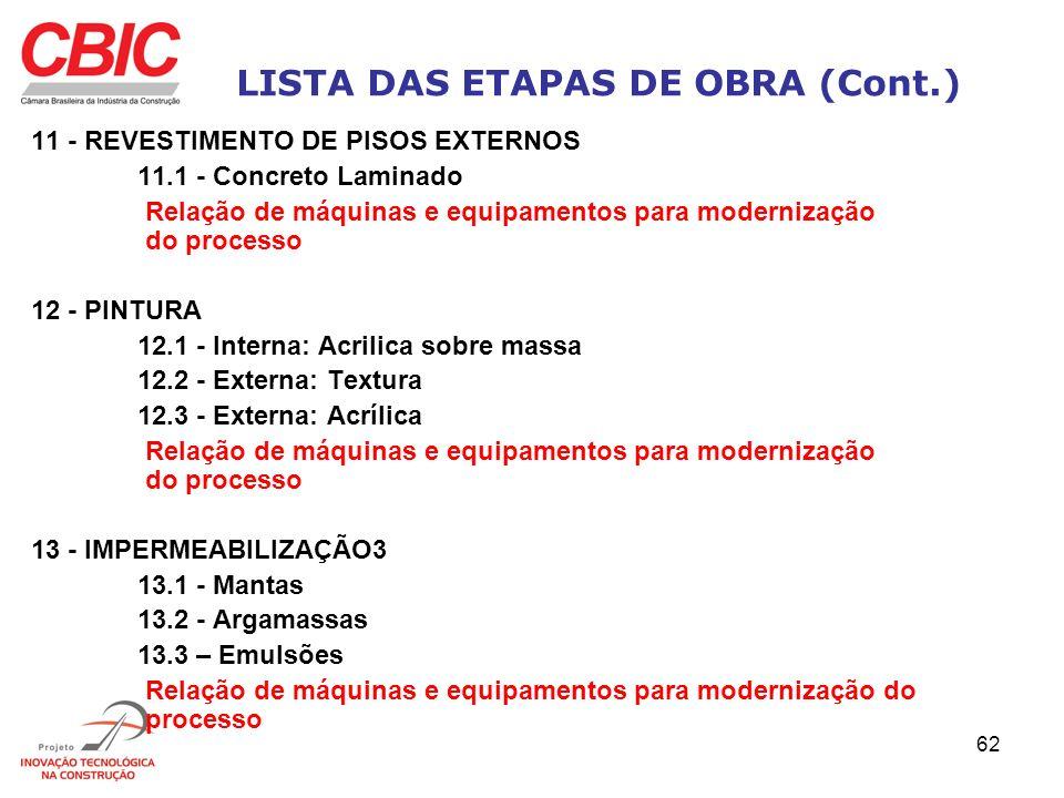 62 LISTA DAS ETAPAS DE OBRA (Cont.) 11 - REVESTIMENTO DE PISOS EXTERNOS 11.1 - Concreto Laminado Relação de máquinas e equipamentos para modernização