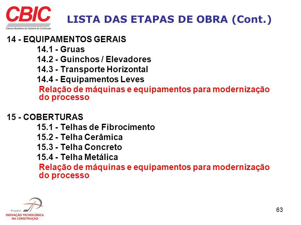 63 LISTA DAS ETAPAS DE OBRA (Cont.) 14 - EQUIPAMENTOS GERAIS 14.1 - Gruas 14.2 - Guinchos / Elevadores 14.3 - Transporte Horizontal 14.4 - Equipamento