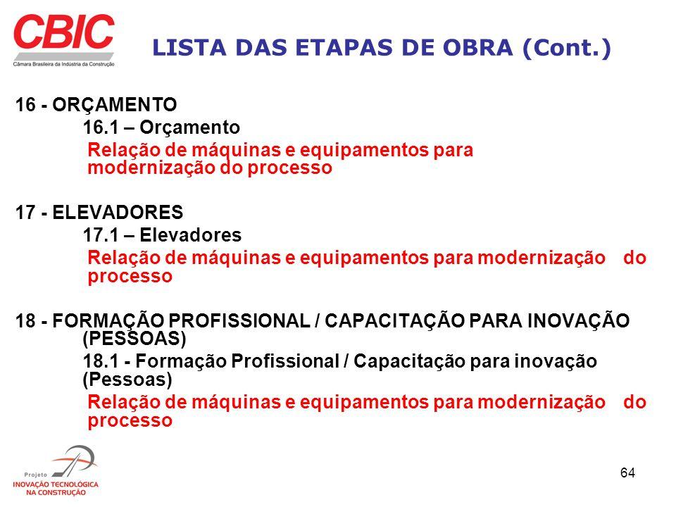64 LISTA DAS ETAPAS DE OBRA (Cont.) 16 - ORÇAMENTO 16.1 – Orçamento Relação de máquinas e equipamentos para modernização do processo 17 - ELEVADORES 1