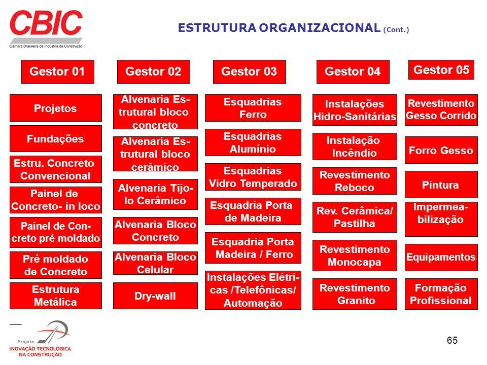 65 ESTRUTURA ORGANIZACIONAL (Cont.) Gestor 01 Projetos Fundações Estru. Concreto Convencional Painel de Concreto- in loco Painel de Con- creto pré mol