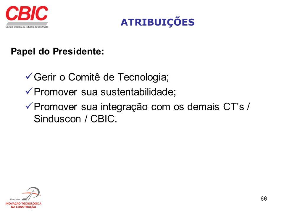 66 ATRIBUIÇÕES Papel do Presidente: Gerir o Comitê de Tecnologia; Promover sua sustentabilidade; Promover sua integração com os demais CTs / Sinduscon