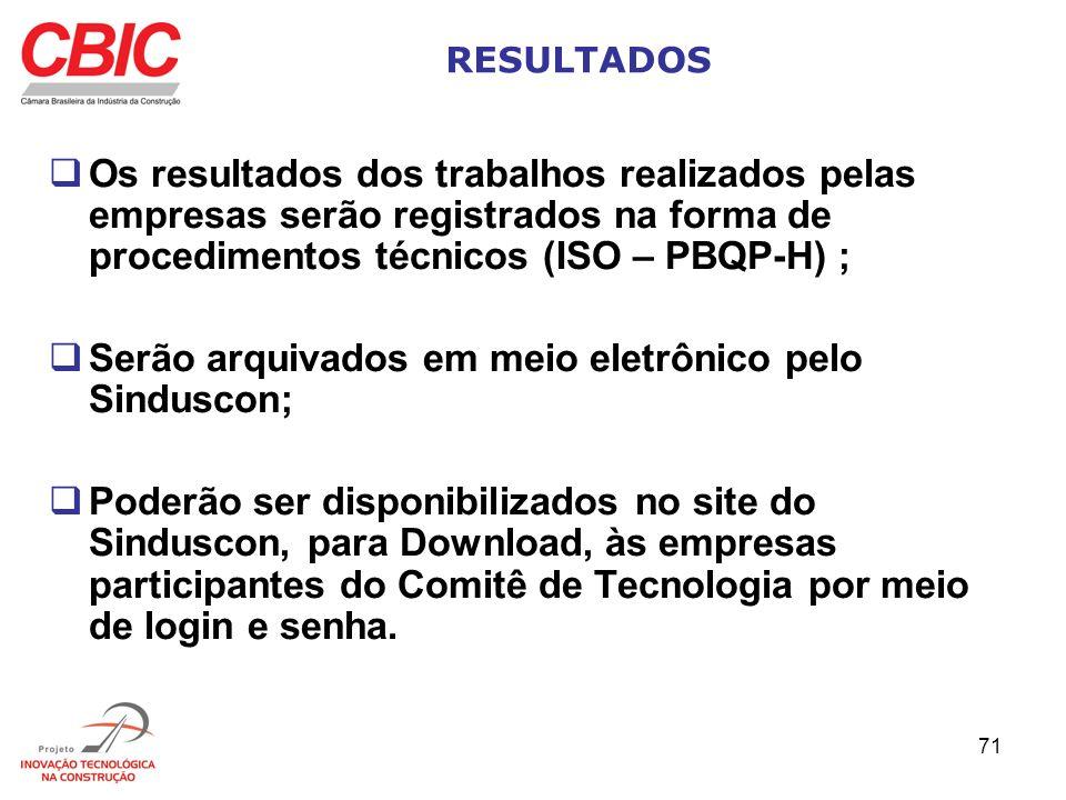 71 RESULTADOS Os resultados dos trabalhos realizados pelas empresas serão registrados na forma de procedimentos técnicos (ISO – PBQP-H) ; Serão arquiv