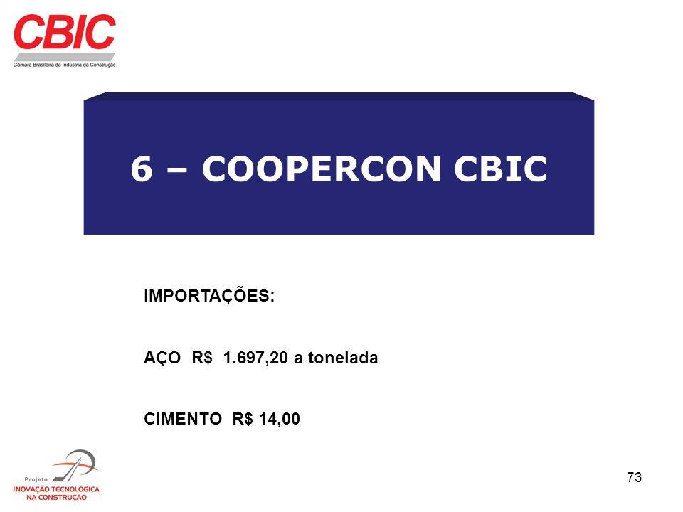 73 6 – COOPERCON CBIC IMPORTAÇÕES: AÇO R$ 1.697,20 a tonelada CIMENTO R$ 14,00
