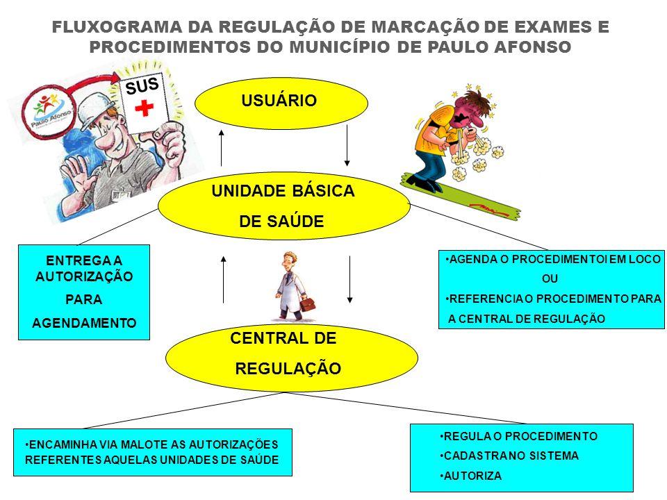 USUÁRIO UNIDADE BÁSICA DE SAÚDE CENTRAL DE REGULAÇÃO AGENDA O PROCEDIMENTOI EM LOCO OU REFERENCIA O PROCEDIMENTO PARA A CENTRAL DE REGULAÇÃO REGULA O