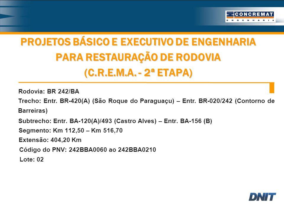 PROJETOS BÁSICO E EXECUTIVO DE ENGENHARIA PARA RESTAURAÇÃO DE RODOVIA (C.R.E.M.A.