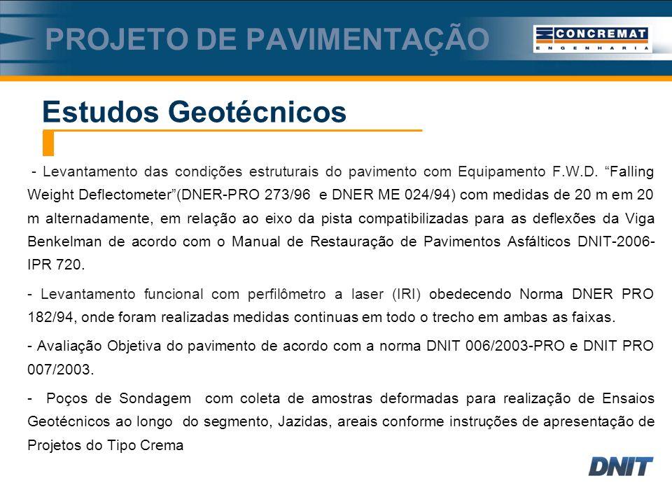 - Levantamento das condições estruturais do pavimento com Equipamento F.W.D.