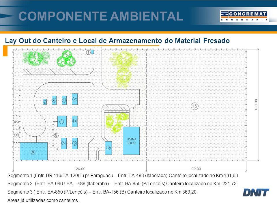 Lay Out do Canteiro e Local de Armazenamento do Material Fresado COMPONENTE AMBIENTAL Segmento 1 (Entr.