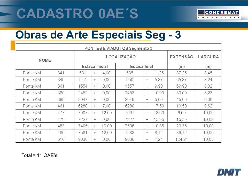 Obras de Arte Especiais Seg - 3 CADASTRO 0AE´S PONTES E VIADUTOS Segmento 3 NOME LOCALIZAÇÃOEXTENSÃOLARGURA Estaca inicialEstaca final(m) Ponte KM341531+4,00535+11,2587,258,45 Ponte KM349947+0,00950+5,3765,378,24 Ponte KM3611554+0,001557+9,9069,908,32 Ponte KM3802452+0,002453+10,0030,008,23 Ponte KM3892947+0,002949+5,0045,000,00 Ponte KM4616280+7,006280+17,5010,509,62 Ponte KM4777097+12,007097+18,606,6010,00 Ponte KM4797227+0,007227+15,55 10,02 Ponte KM4837405+10,007506+10,3520,3510,00 Ponte KM4867581+12,007583+8,1236,1210,00 Ponte KM5169030+0,009036+4,24124,2410,05 Total = 11 OAEs