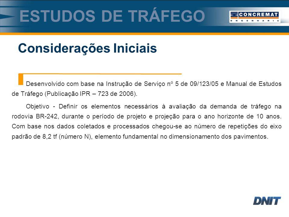 Desenvolvido com base na Instrução de Serviço nº 5 de 09/123/05 e Manual de Estudos de Tráfego (Publicação IPR – 723 de 2006).