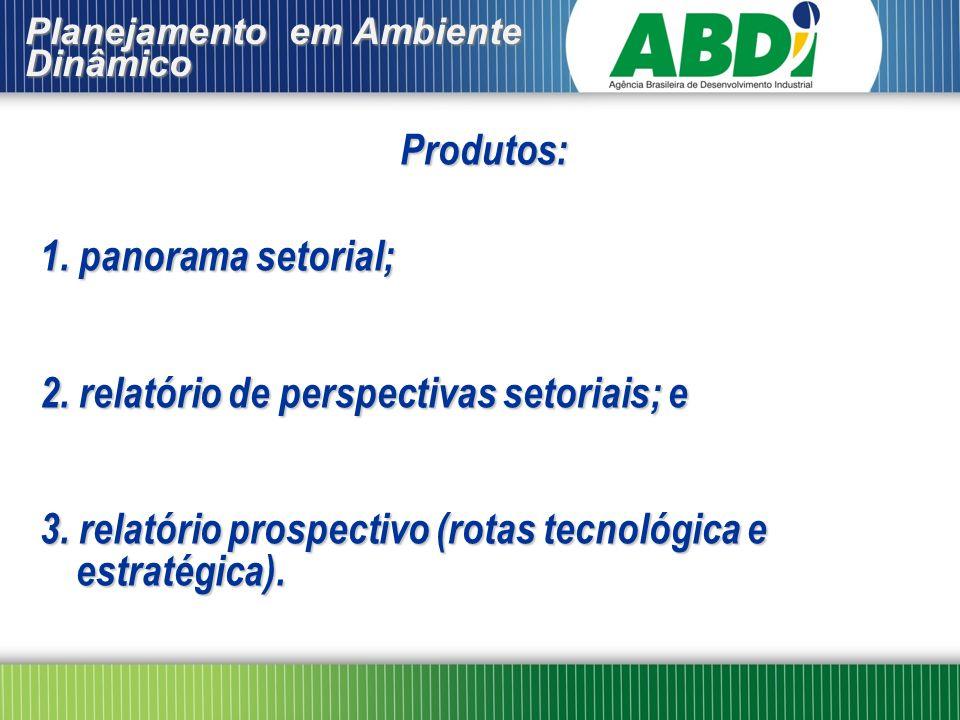 Produtos: 1. panorama setorial; 2. relatório de perspectivas setoriais; e 3. relatório prospectivo (rotas tecnológica e estratégica). Planejamento em