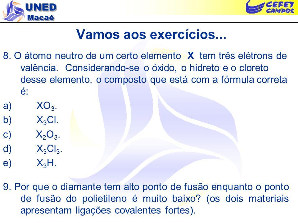 UNED Macaé Vamos aos exercícios... 8. O átomo neutro de um certo elemento X tem três elétrons de valência. Considerando-se o óxido, o hidreto e o clor