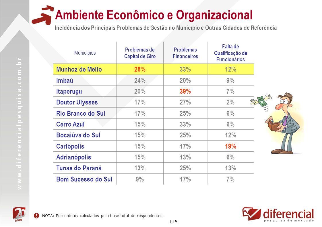 115 Incidência dos Principais Problemas de Gestão no Município e Outras Cidades de Referência Ambiente Econômico e Organizacional Municípios Problemas