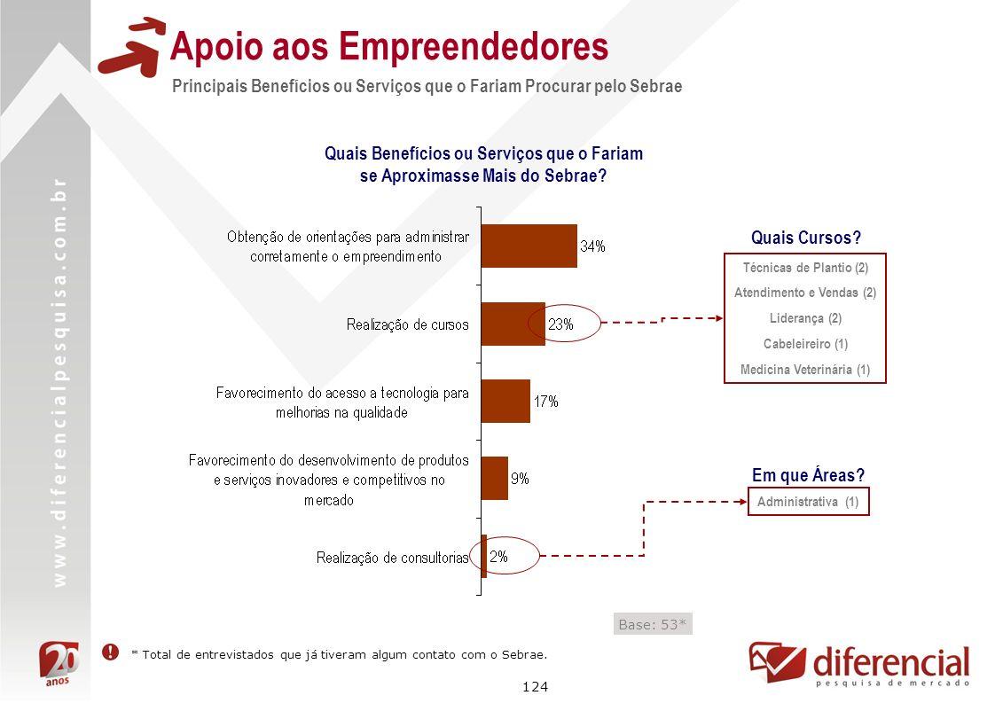 124 Apoio aos Empreendedores Principais Benefícios ou Serviços que o Fariam Procurar pelo Sebrae Base: 53* Quais Benefícios ou Serviços que o Fariam s