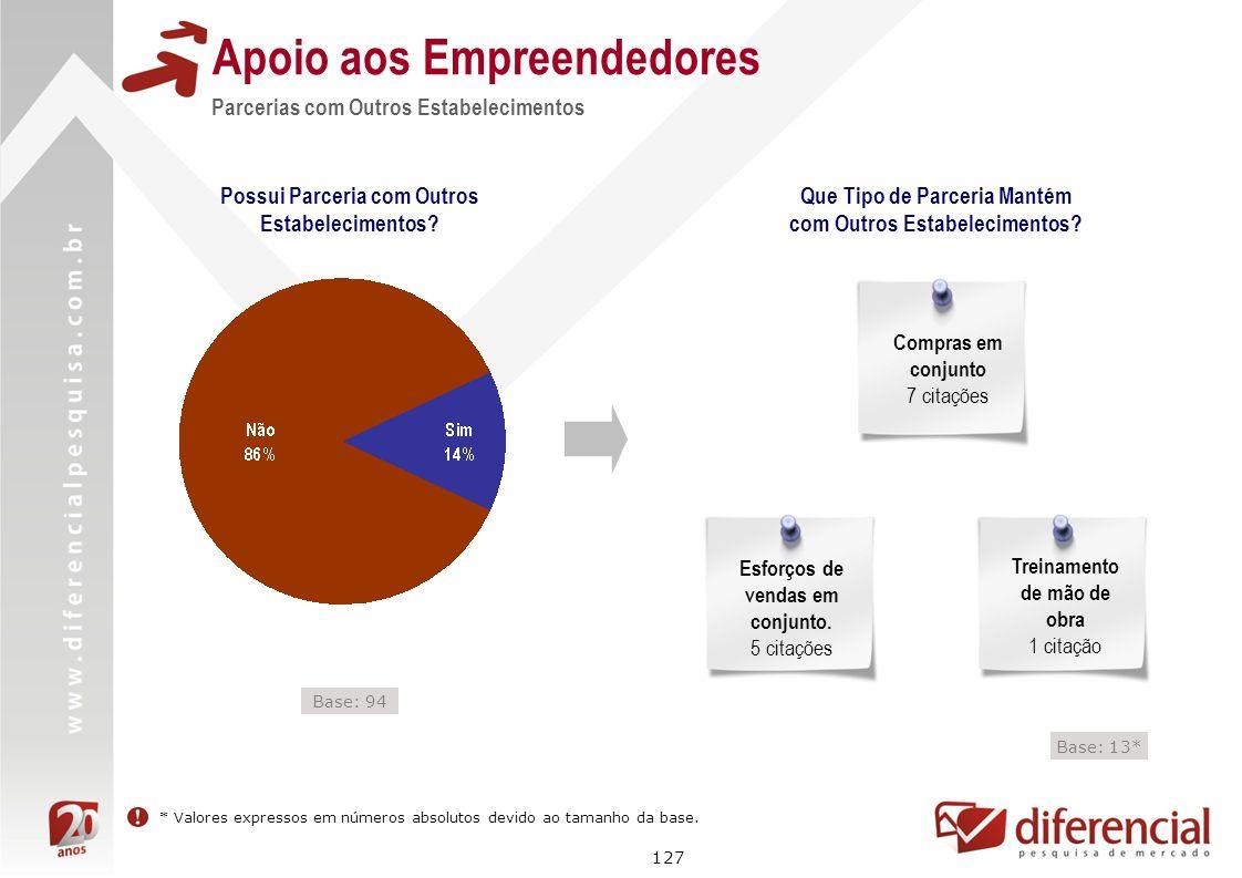 127 Apoio aos Empreendedores Parcerias com Outros Estabelecimentos Possui Parceria com Outros Estabelecimentos? Que Tipo de Parceria Mantém com Outros