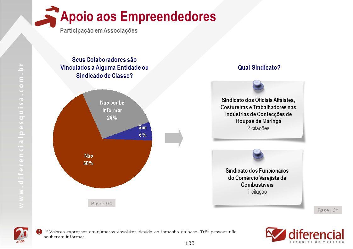 133 Apoio aos Empreendedores Seus Colaboradores são Vinculados a Alguma Entidade ou Sindicado de Classe? Participação em Associações Qual Sindicato? S