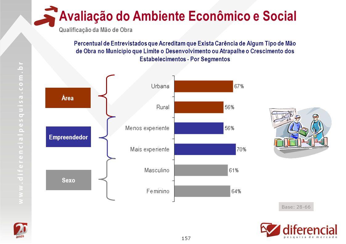 157 Avaliação do Ambiente Econômico e Social Qualificação da Mão de Obra Percentual de Entrevistados que Acreditam que Exista Carência de Algum Tipo d