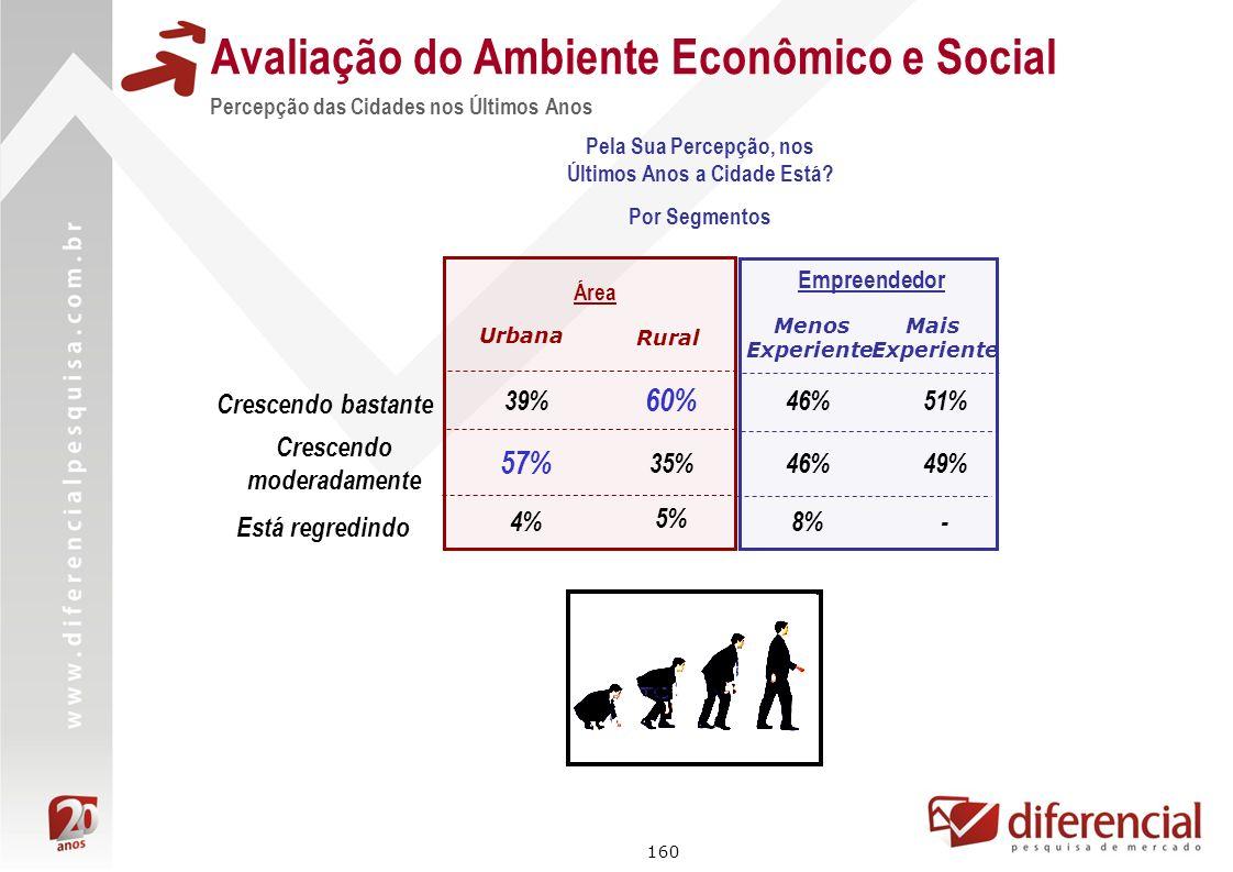 160 Avaliação do Ambiente Econômico e Social Crescendo bastante Está regredindo Crescendo moderadamente Área 39% 57% Urbana Rural 60% 35% 4% 5% Empree