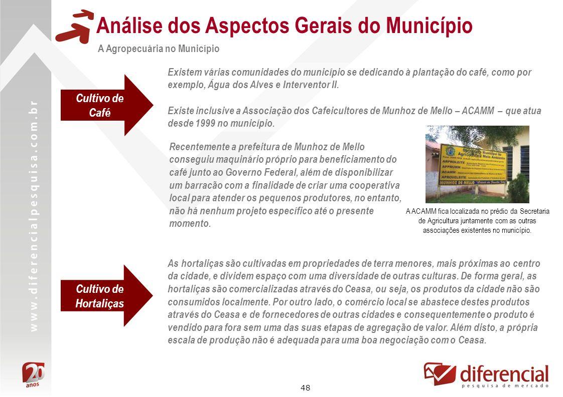48 Análise dos Aspectos Gerais do Município A Agropecuária no Município Existem várias comunidades do município se dedicando à plantação do café, como