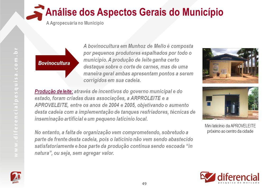 49 Análise dos Aspectos Gerais do Município A Agropecuária no Município A bovinocultura em Munhoz de Mello é composta por pequenos produtores espalhad