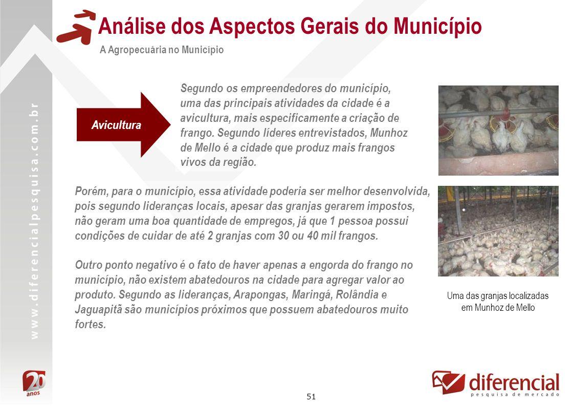 51 Análise dos Aspectos Gerais do Município A Agropecuária no Município Segundo os empreendedores do município, uma das principais atividades da cidad