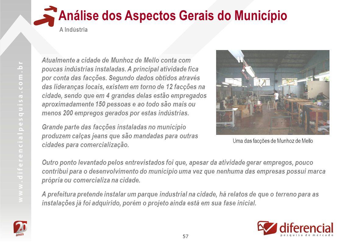 57 Análise dos Aspectos Gerais do Município A Indústria Atualmente a cidade de Munhoz de Mello conta com poucas indústrias instaladas. A principal ati