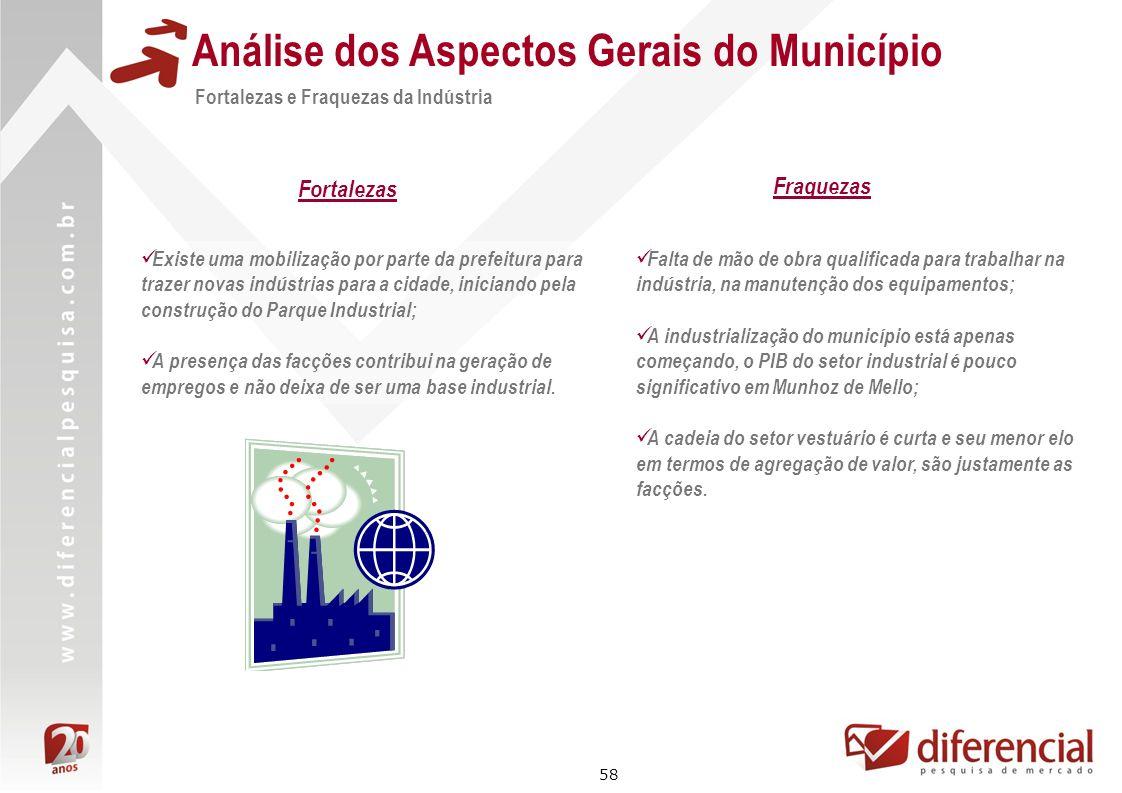 58 Análise dos Aspectos Gerais do Município Fortalezas e Fraquezas da Indústria Existe uma mobilização por parte da prefeitura para trazer novas indús