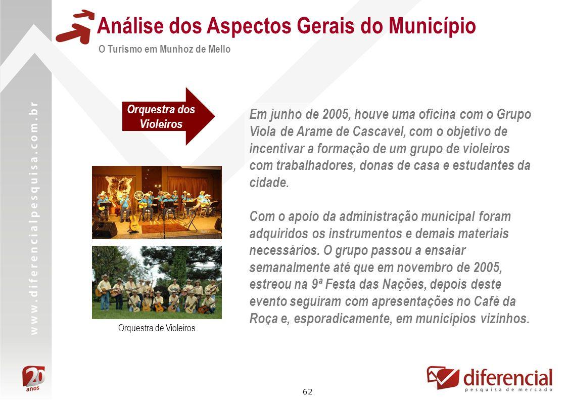 62 Análise dos Aspectos Gerais do Município Orquestra dos Violeiros O Turismo em Munhoz de Mello Orquestra de Violeiros Em junho de 2005, houve uma of