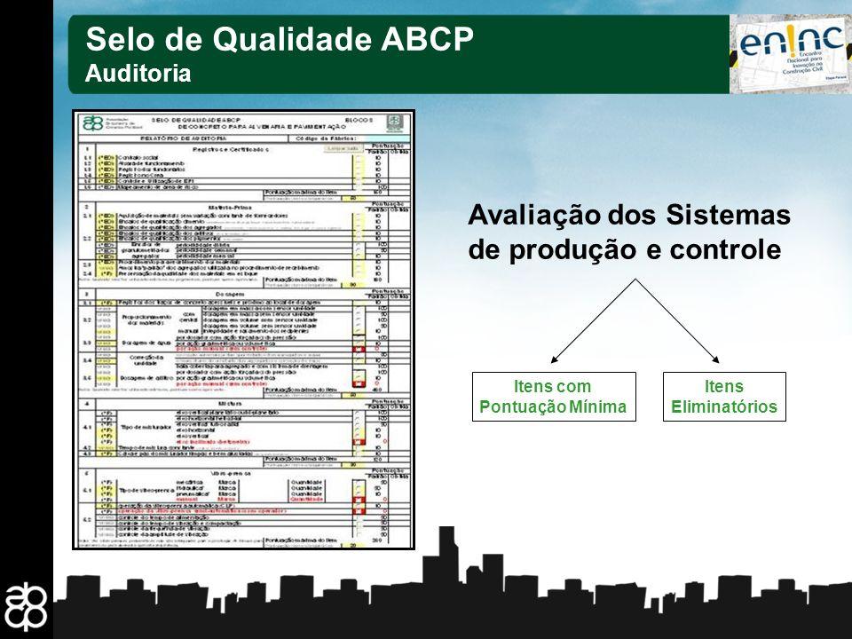 17 Selo de Qualidade ABCP Auditoria Avaliação dos Sistemas de produção e controle Itens com Pontuação Mínima Itens Eliminatórios