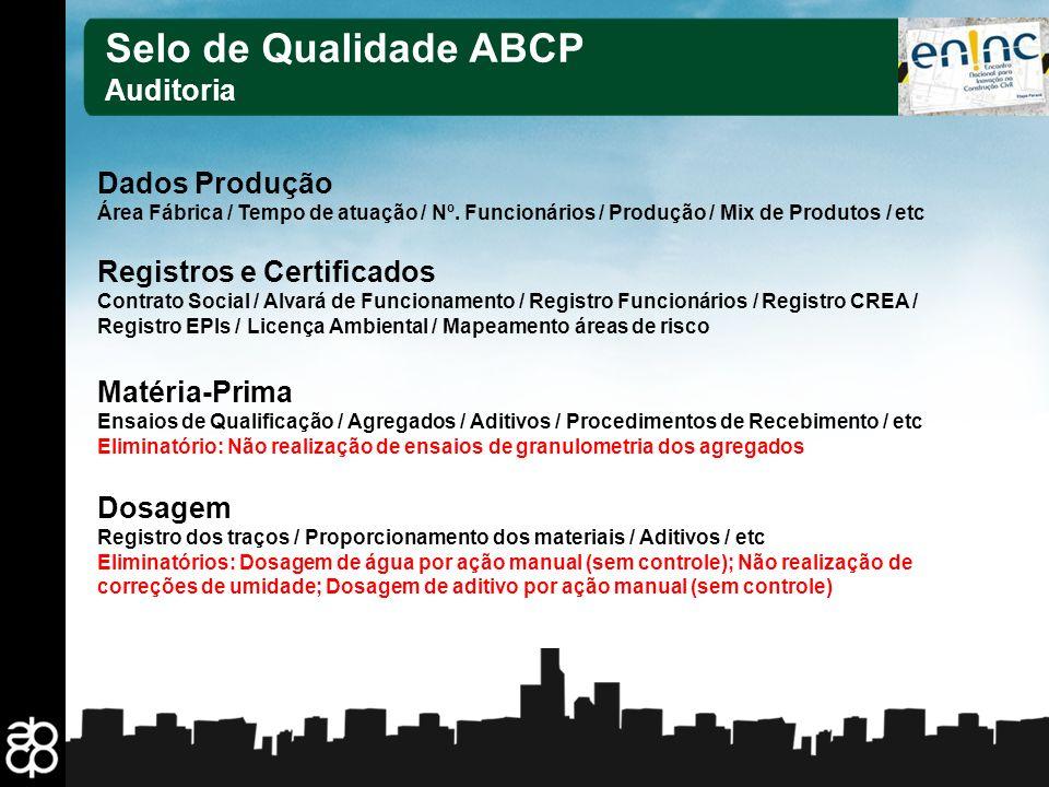 18 Selo de Qualidade ABCP Auditoria Dados Produção Área Fábrica / Tempo de atuação / Nº. Funcionários / Produção / Mix de Produtos / etc Registros e C