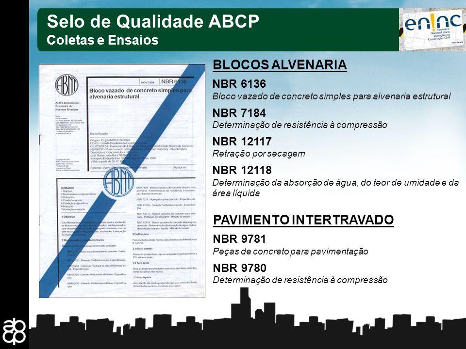 23 Selo de Qualidade ABCP Coletas e Ensaios NBR 6136 Bloco vazado de concreto simples para alvenaria estrutural NBR 7184 Determinação de resistência à