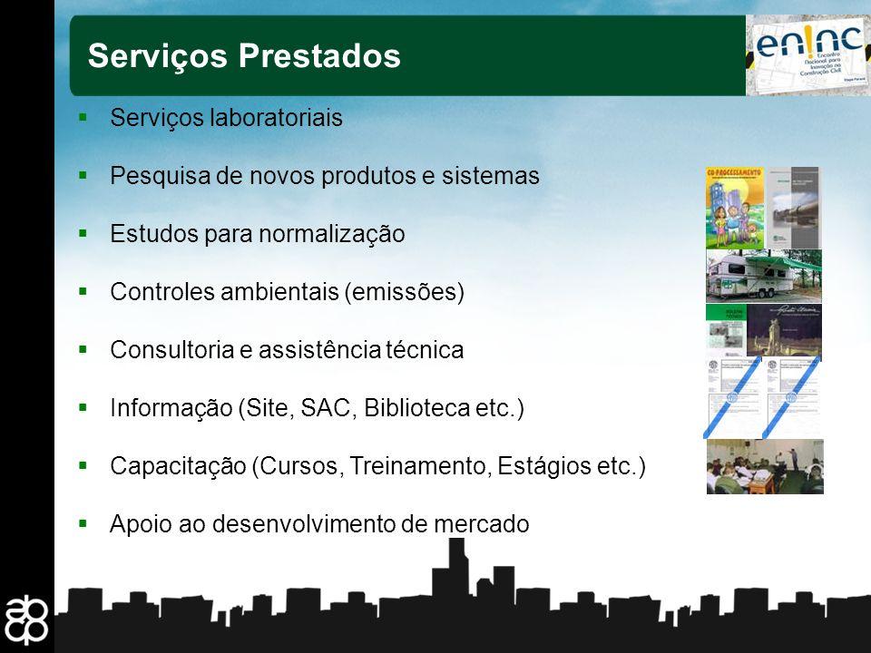 5 Serviços Prestados Serviços laboratoriais Pesquisa de novos produtos e sistemas Estudos para normalização Controles ambientais (emissões) Consultori