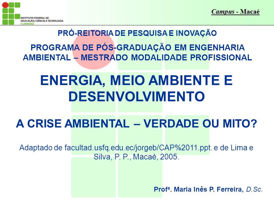 Campus - Macaé PRÓ-REITORIA DE PESQUISA E INOVAÇÃO PROGRAMA DE PÓS-GRADUAÇÃO EM ENGENHARIA AMBIENTAL – MESTRADO MODALIDADE PROFISSIONAL ENERGIA, MEIO AMBIENTE E DESENVOLVIMENTO A CRISE AMBIENTAL – VERDADE OU MITO.