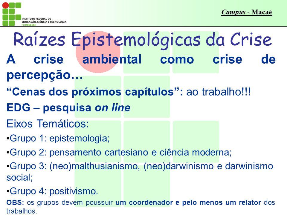 Campus - Macaé Raízes Epistemológicas da Crise A crise ambiental como crise de percepção… EDI – lauda criativa Temática: ordem, separação e razão – a