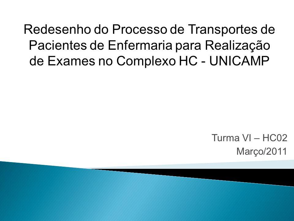 Turma VI – HC02 Março/2011 Redesenho do Processo de Transportes de Pacientes de Enfermaria para Realização de Exames no Complexo HC - UNICAMP
