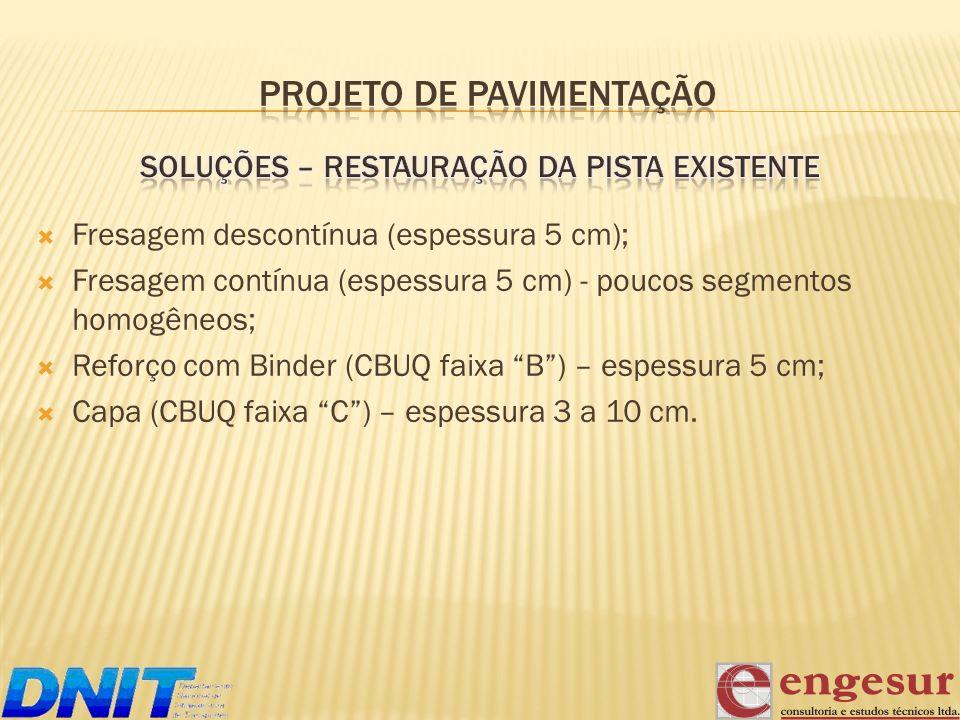 Fresagem descontínua (espessura 5 cm); Fresagem contínua (espessura 5 cm) - poucos segmentos homogêneos; Reforço com Binder (CBUQ faixa B) – espessura
