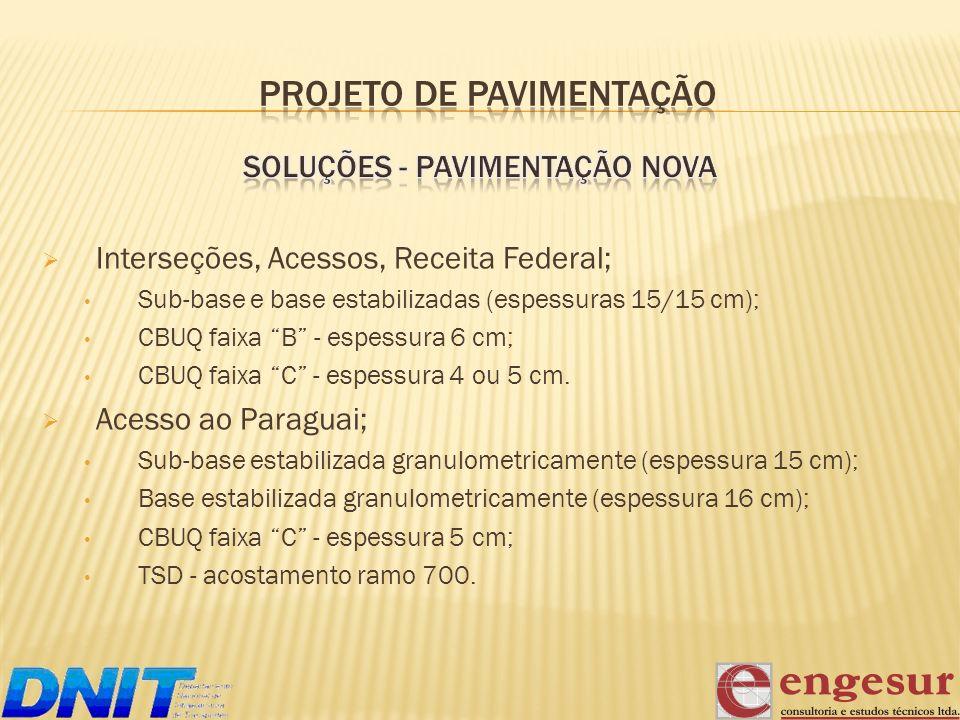 Interseções, Acessos, Receita Federal; Sub-base e base estabilizadas (espessuras 15/15 cm); CBUQ faixa B - espessura 6 cm; CBUQ faixa C - espessura 4