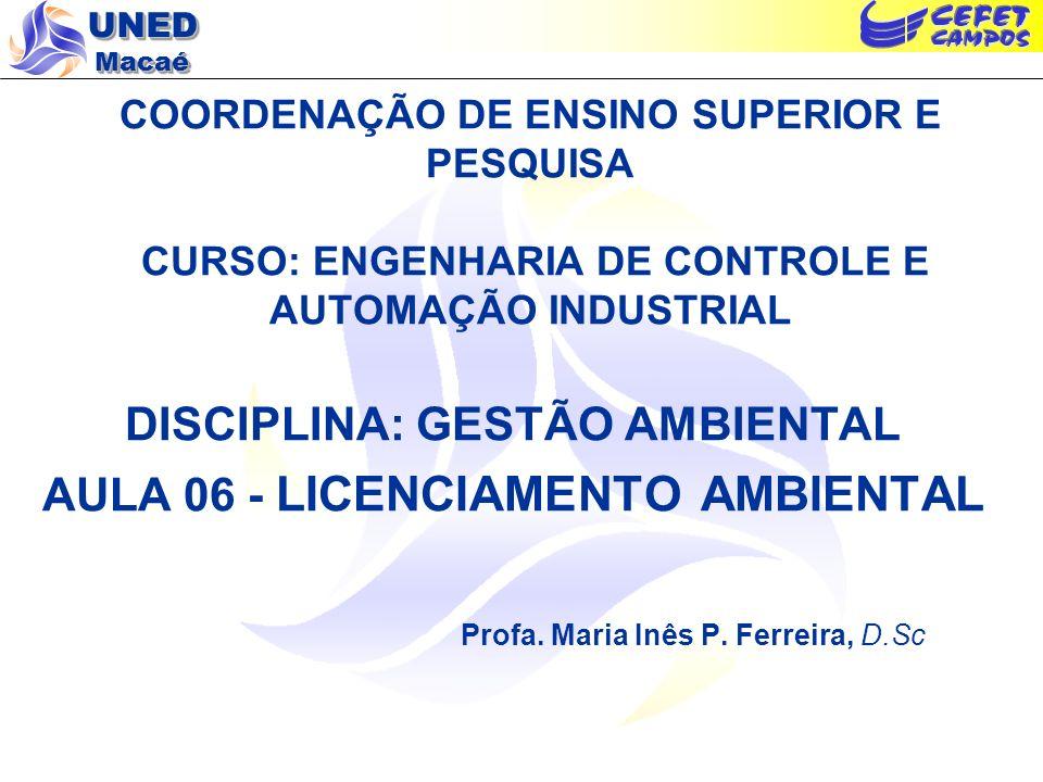 UNED Macaé COORDENAÇÃO DE ENSINO SUPERIOR E PESQUISA CURSO: ENGENHARIA DE CONTROLE E AUTOMAÇÃO INDUSTRIAL DISCIPLINA: GESTÃO AMBIENTAL AULA 06 - LICEN