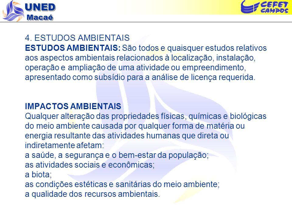 4. ESTUDOS AMBIENTAIS ESTUDOS AMBIENTAIS: São todos e quaisquer estudos relativos aos aspectos ambientais relacionados à localização, instalação, oper