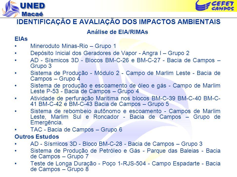 UNED Macaé IDENTIFICAÇÃO E AVALIAÇÃO DOS IMPACTOS AMBIENTAIS Análise de EIA/RIMAs EIAs Mineroduto Minas-Rio – Grupo 1 Depósito Inicial dos Geradores d