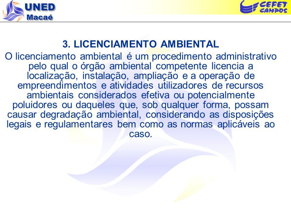 UNED Macaé 3. LICENCIAMENTO AMBIENTAL O licenciamento ambiental é um procedimento administrativo pelo qual o órgão ambiental competente licencia a loc